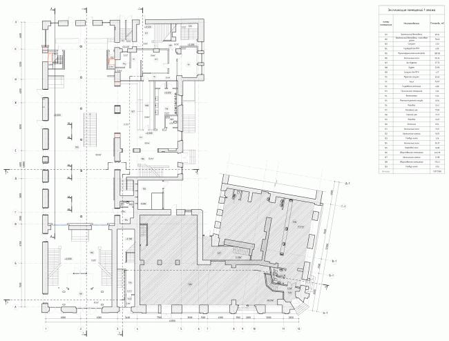 Строение 1, план 1 этажа. «Электротеатр Станиславский». 2014 © Wowhaus