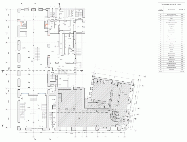 """Building 1, plan of the 1st floor. """"Electrotheater Stanislavsky"""". 2014 © Wowhaus"""