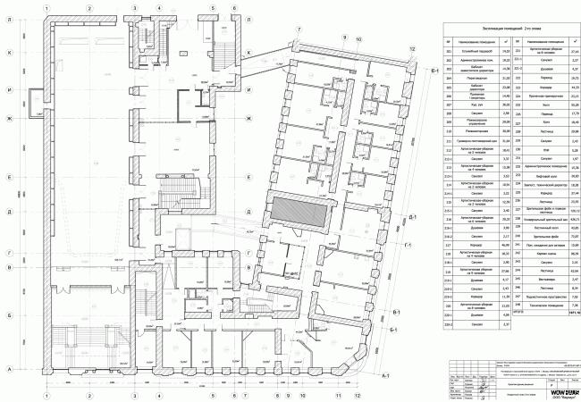 Строение 1, план 2 этажа. «Электротеатр Станиславский». 2014 © Wowhaus