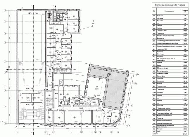 Строение 1, план 3 этажа. «Электротеатр Станиславский». 2014 © Wowhaus