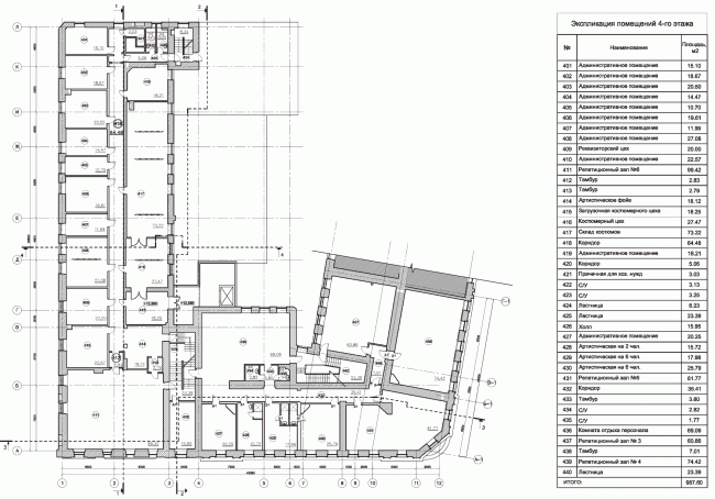 """Building 1, plan of the 4th floor. """"Electrotheater Stanislavsky"""". 2014 © Wowhaus"""