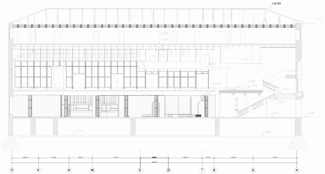 """Building 1, section view. """"Electrotheater Stanislavsky"""". 2014 © Wowhaus"""
