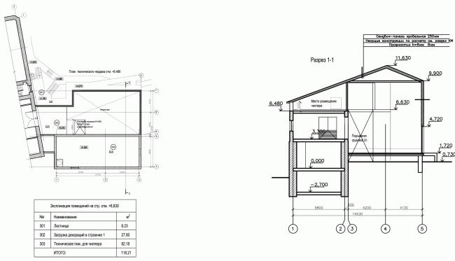 Строение 2, план на отметке +6,480 и разрез. «Электротеатр Станиславский». 2014 © Wowhaus