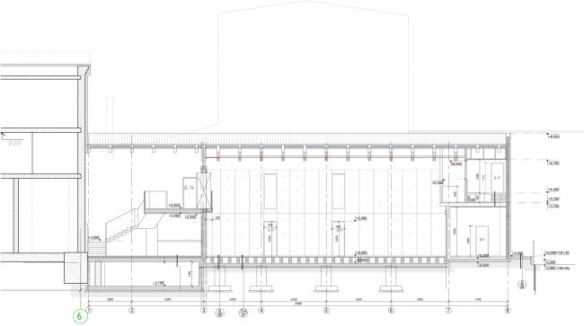Строение 3 (Малая сцена), продольный разрез. «Электротеатр Станиславский» © Wowhaus