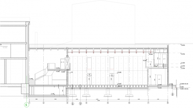 """Building 3 (Minor stage), longitudinal section view. """"Electrotheater Stanislavsky"""". 2014 © Wowhaus"""