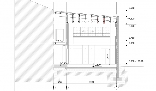 """Building 3 (Minor stage), cross-section view. """"Electrotheater Stanislavsky"""". 2014 © Wowhaus"""