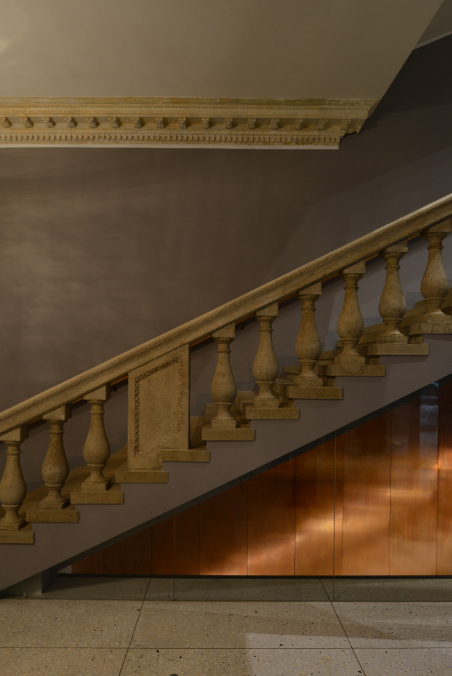 """Stairway leading from the first floor (level of the street and he foyer) to the second floor (stage level). """"Electrotheater Stanislavsky"""". Photo © Ilia Ivanov, 2014"""