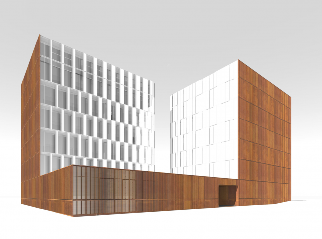 East facade. The blinds are closed © Sergey Skuratov ARCHITECTS