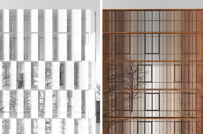 Fragments of the closed facades © Sergey Skuratov ARCHITECTS