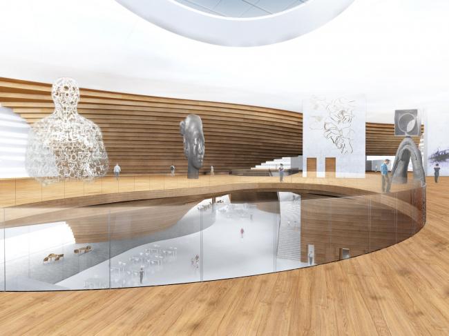 Guggenheim Museum in Helsinki. Museum hall interior © DNK AG