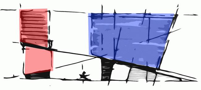 Эскиз-заставка хорошо демонстрирует взаимосвязанность двух объемов. Концепции штаб-квартир компаний «Спортмастер» и «O'stin». Авторы: ТПО «Резерв»