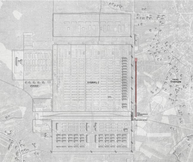 Auschwitz Memorial Complex. Location plan © Arch group
