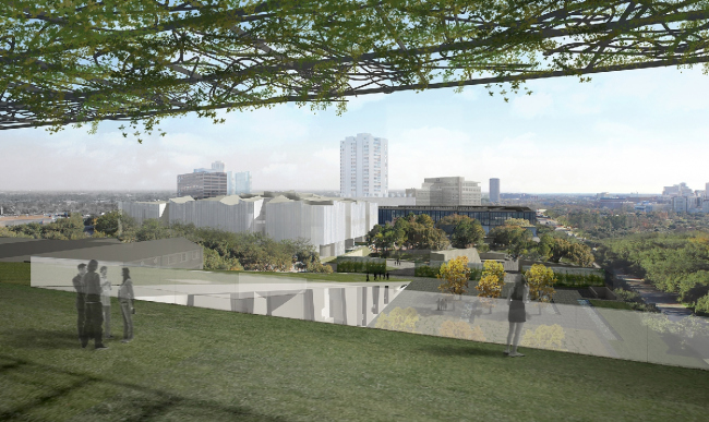 Хьюстонский Музей изобразительных искусств–реконструкция. Вид на кампус с крыши Школы искусств Гласселл. Предоставлено  Steven Holl Architects