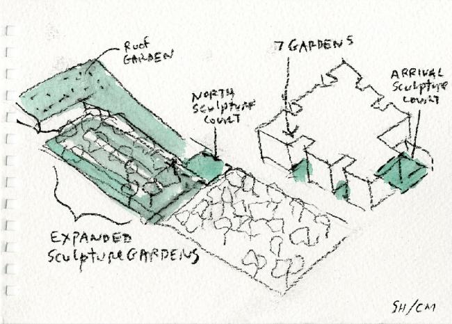 Steven Holl Architects. Хьюстонский Музей изобразительных искусств – реконструкция. Бумага, акварель. 2014 ©  Steven Holl Architects