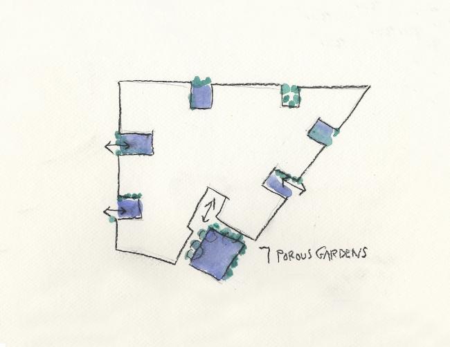 Steven Holl Architects. 7 пористых садов. Бумага, акварель. 2013 © 2014 Steven Holl Architects