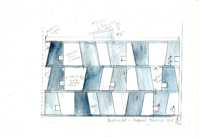 Steven Holl Architects. Школа искусств Гласселл. Бумага, акварель. 2014 ©  Steven Holl Architects