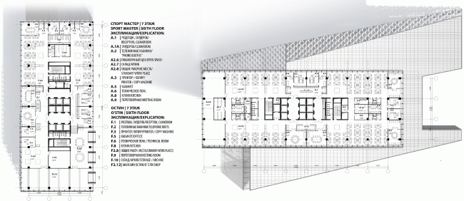 """Plans of the typical office floors (Floor 7). Concepts of the HQ's of """"Sportmaster"""" and """"O'Stin"""". Authors: """"Reserve"""""""