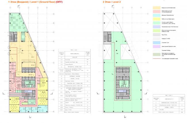 План 1 и 2 этажей здания «Спортмастер». Концепции штаб-квартир компаний «Спортмастер» и «O'stin». Авторы: Aukett Swanke