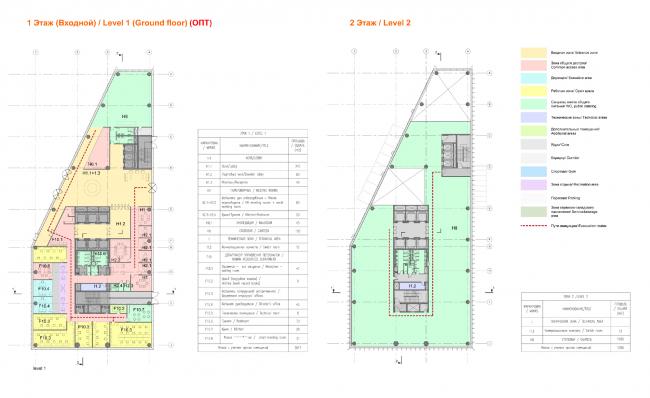 План 1 и 2 этажей здания «O'stin». Концепции штаб-квартир компаний «Спортмастер» и «O'stin». Авторы: Aukett Swanke