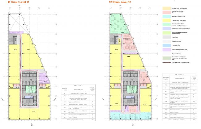 Планы типовых офисных этажей (11,12 этажи) здания «Спортмастер».Концепции штаб-квартир компаний «Спортмастер» и «O'stin». Авторы: ТПО «Резерв»