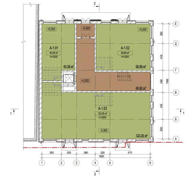 Корпус А. План 1-го этажа. Лофт-квартал Studio 12