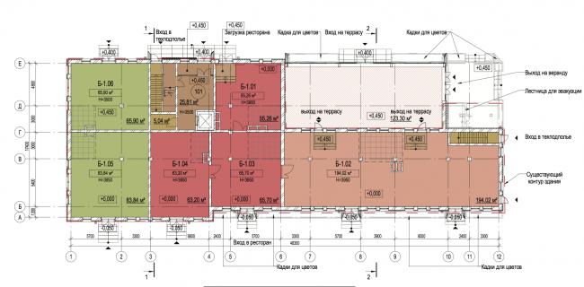 Корпус Б. План 1-го  этажа. Лофт-квартал Studio 12