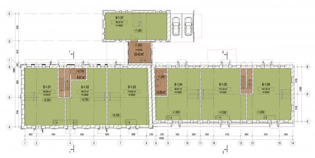 Корпус В. План 1-го этажа. Лофт-квартал Studio 12