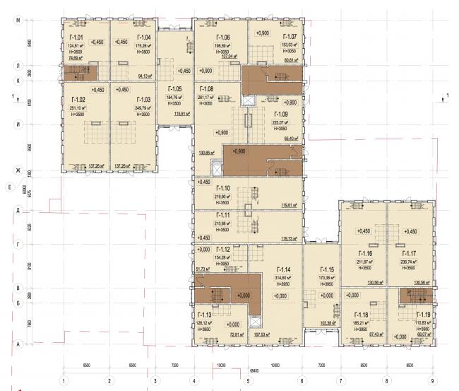 Корпус Г. План 1-го этажа. Лофт-квартал Studio 12