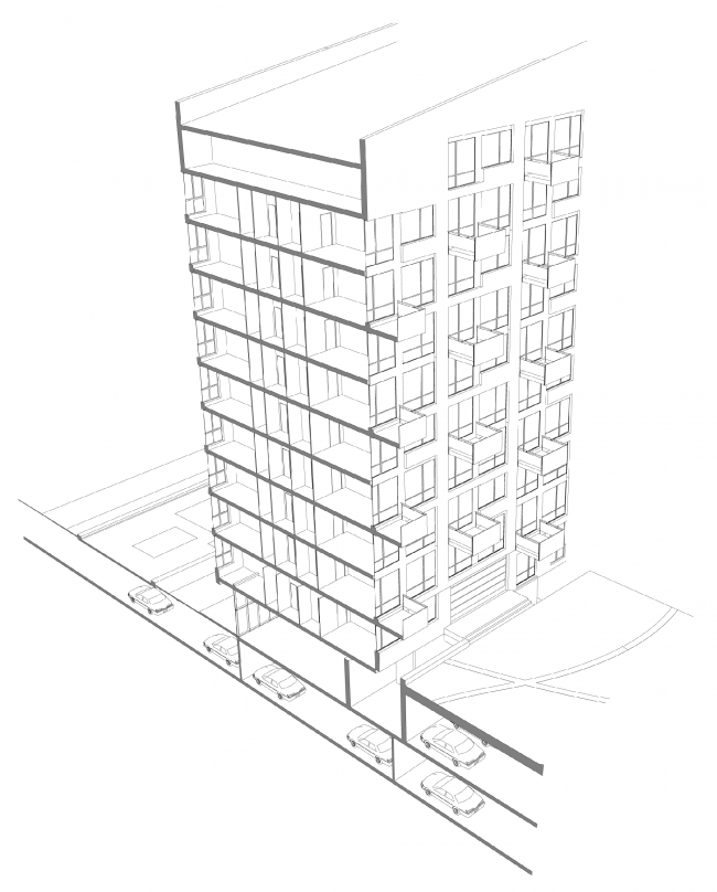 Жилой дом «Бизнес+»- класса. Концепция многофункционального жилого комплекса с объектами социальной инфраструктуры © АБ «Остоженка»