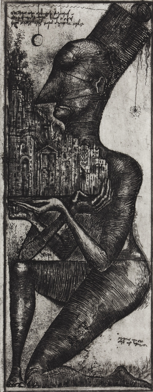 Architect. 1984 (sic!) Etching © Alexander Brodsky