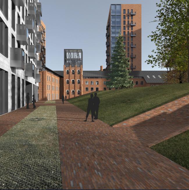 Проект многофункционального жилого комплекса на Павелецкой набережной. Двор © Архитектурное бюро Сергея Скуратова