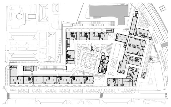 Проект многофункционального жилого комплекса на Павелецкой набережной. План 1 этажа © Архитектурное бюро Сергея Скуратова
