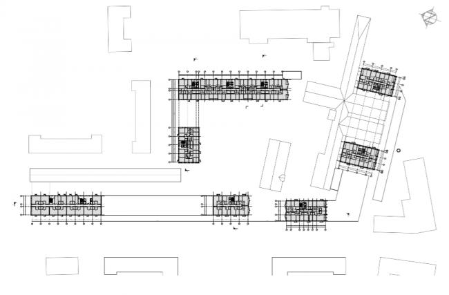 Проект многофункционального жилого комплекса на Павелецкой набережной. План 8 этажа © Архитектурное бюро Сергея Скуратова
