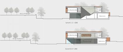 Мемориал Берлинской стены. Проект. Информационный центр. Разрез