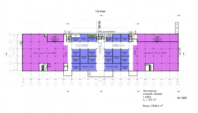 "Multifunctional retail center ""Five Planets"". Plan of the first floor © Totan Kuzembaev Architectural Studio"