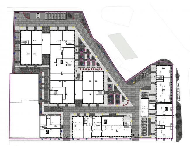 Схема наружного освещения территории. Лофт-квартал Studio 12
