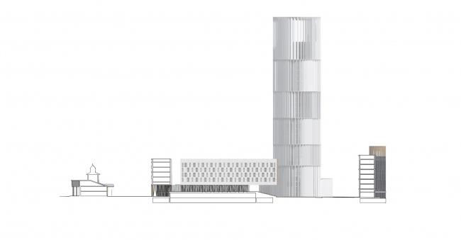 Проект застройки жилого района «Седьмое небо» в Казани. Разрез © Сергей Скуратов ARCHITECTS