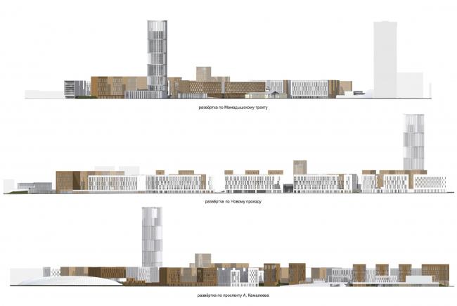 Проект застройки жилого района «Седьмое небо» в Казани. Развертки © Сергей Скуратов ARCHITECTS