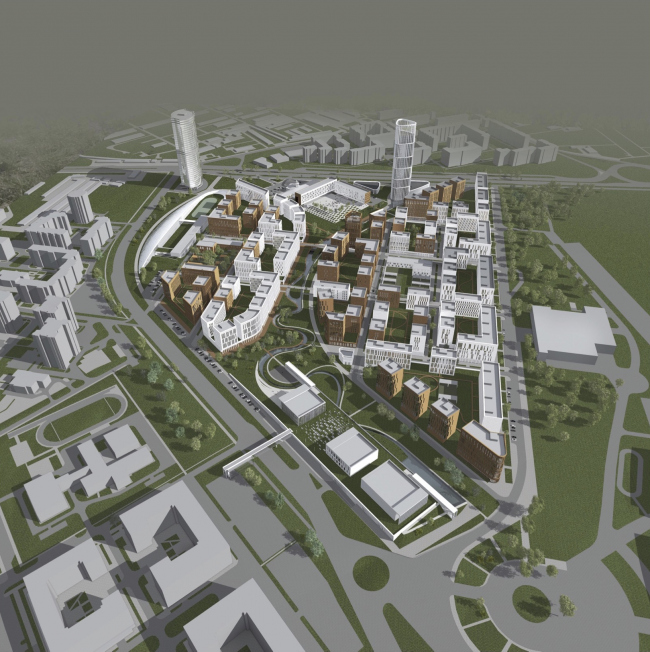 """Project of building Kazan′s """"Sedmoye Nebo« (»Seventh Heaven"""") residential district. Bird′s height view © Sergey Skuratov Architects"""