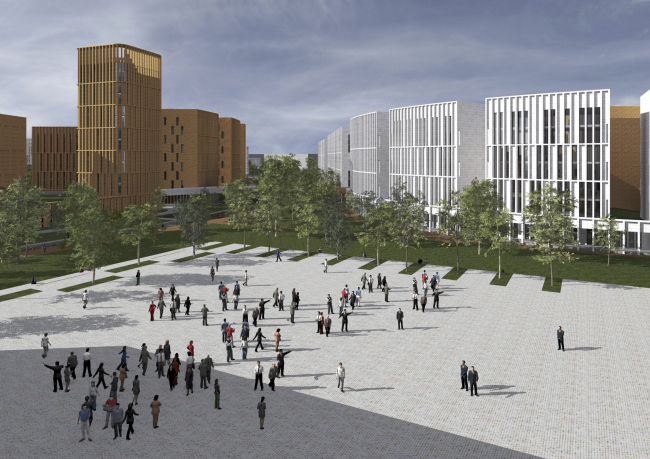 """Project of building Kazan′s """"Sedmoye Nebo« (»Seventh Heaven"""") residential district. Square © Sergey Skuratov Architects"""