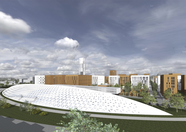 "Project of building Kazan's ""Sedmoye Nebo"" (""Seventh Heaven"") residential district. School © Sergey Skuratov Architects"