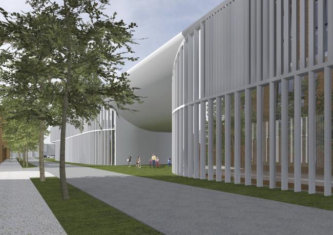 "Project of building Kazan′s ""Sedmoye Nebo« (»Seventh Heaven"") residential district. School entrance © Sergey Skuratov Architects"