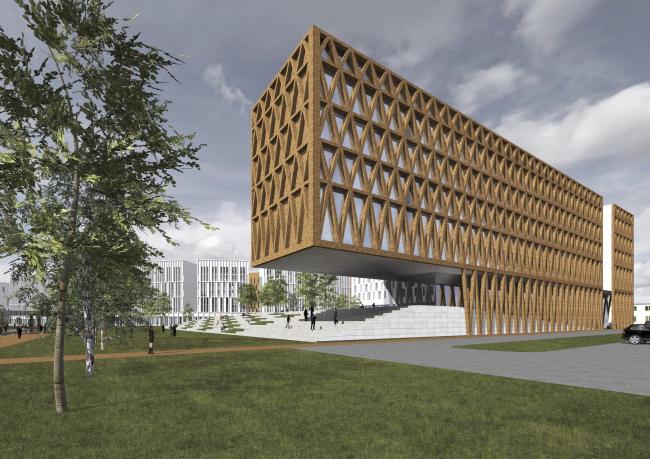 "Project of building Kazan′s ""Sedmoye Nebo« (»Seventh Heaven"") residential district. Hotel © Sergey Skuratov Architects"