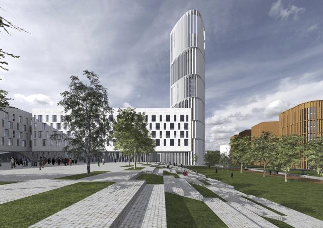 "Project of building Kazan′s ""Sedmoye Nebo« (»Seventh Heaven"") residential district © Sergey Skuratov Architects"