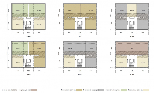 """Project of building Kazan′s """"Sedmoye Nebo« (»Seventh Heaven"""") residential district. Plan of the typical floor of the residential section © Sergey Skuratov Architects"""
