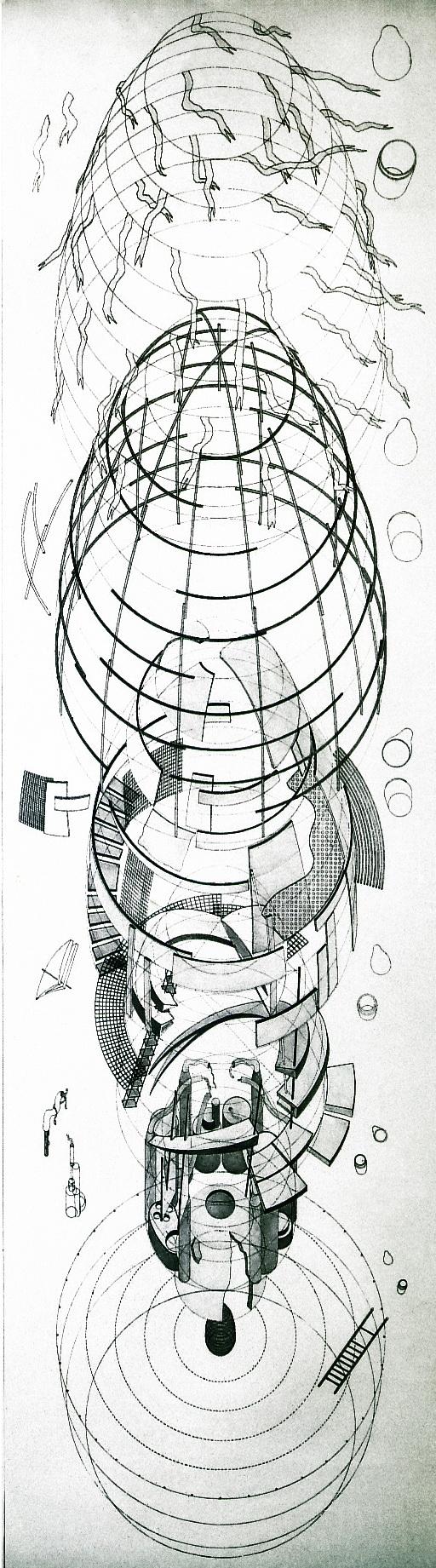 Юрий Аввакумов, Игорь Пищукевич, Юрий Цирульников. Дом-матрешка. 1984 Шелкография, карандаш