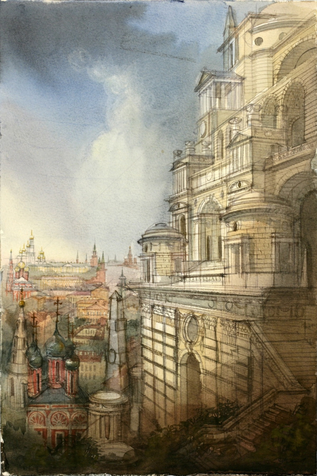 Михаил Филиппов, Вавилонская башня. 1989. Акварель