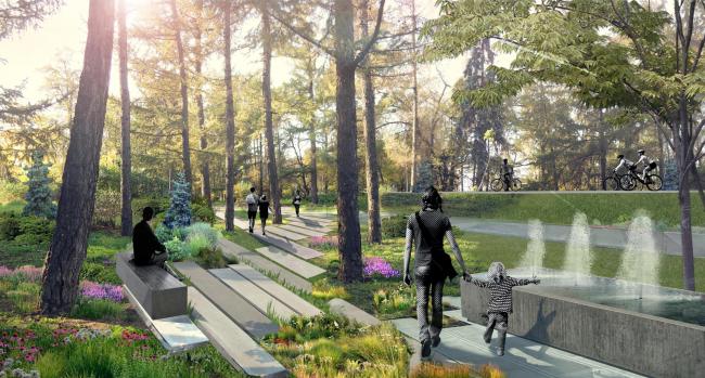 "Visualization of a fragment of the boulevard. Concept of ""Dinamo"" Boulevard. Author: Ksenia Zvereva"