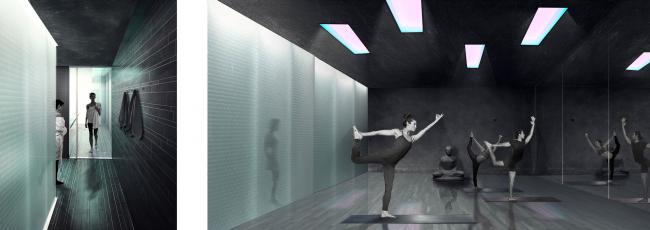 "Interior of the yoga center. Concept of ""Dinamo"" Boulevard. Author: Ksenia Zvereva"