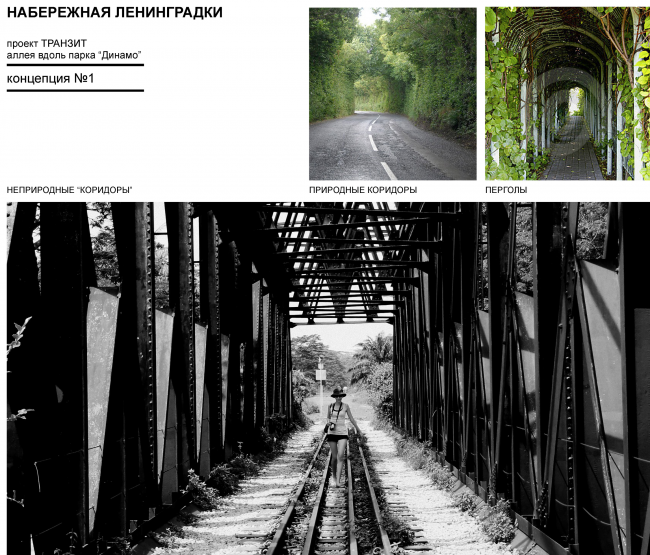 "Examples: natural and man-made corridors. Concept of ""Dinamo"" Boulevard. Author: Anastasia Rozhkova"